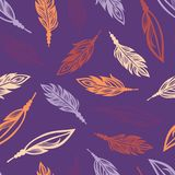 Seamless pattern with colored feathers of birds. Royalty Free Stock Photography