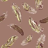 Seamless pattern with colored feathers vector illustration