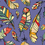 Seamless pattern of colored feathers Royalty Free Stock Photos