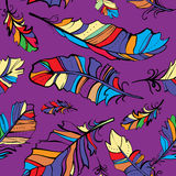 Seamless pattern of colored feathers Stock Photos