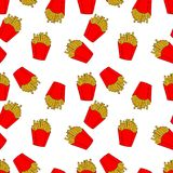 Pattern of colored french fries in cartoon style. Hand drawn illustration for menu design, fabric and wallpaper vector illustration