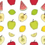 Seamless pattern. Colored fruits on white background. Seamless pattern. Lime, lemon, watermelon, apple on white background stock illustration