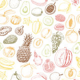Seamless pattern with colored fruits on white background Stock Photography