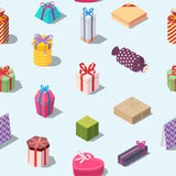 Seamless pattern with colored gift boxes. Isometric present box background. Texture for print. Editable vector illustration Royalty Free Stock Photography