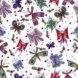 Seamless pattern with colored hand-drawn butterflies. Royalty Free Stock Photo