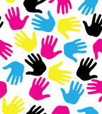 seamless pattern with colored hand prints Stock Image