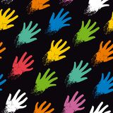 Seamless pattern of colored hands on the diagonal Royalty Free Stock Photography
