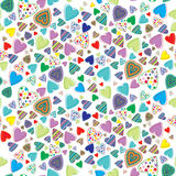 Seamless pattern with colored hearts Stock Images