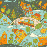 Seamless pattern with colored houses Royalty Free Stock Image