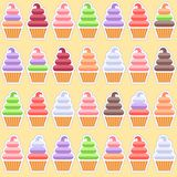 Seamless pattern. Colored Ice cream background. Ice creams on a yellow background. A lot of kindes of ice cream in waffle cups Royalty Free Stock Images
