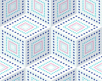 Seamless pattern from colored isometric cubes. Cuba on a white background. The pattern of dots and lines Stock Image