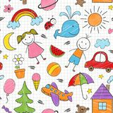 Seamless pattern with colored kids drawings. Vector illustration, eps royalty free illustration