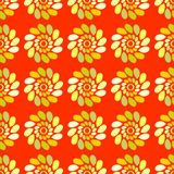 Seamless pattern of colored leaves on an orange Royalty Free Stock Image