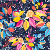 Seamless pattern of colored leaves and snails Royalty Free Stock Photography