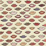 Seamless pattern with colored lips. Royalty Free Stock Image