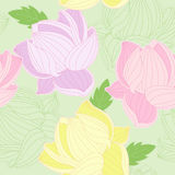 Seamless pattern with colored  lotus Royalty Free Stock Photo