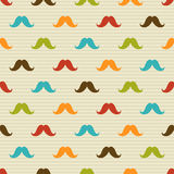 Seamless pattern of colored mustache on striped ba Royalty Free Stock Images