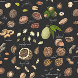 Seamless pattern with colored nuts and seeds Royalty Free Stock Photo