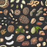 Seamless pattern with colored nuts and seeds Royalty Free Stock Photos