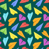 Seamless pattern with colored paper planes against Royalty Free Stock Photo