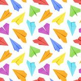 Seamless pattern with colored paper planes Stock Image