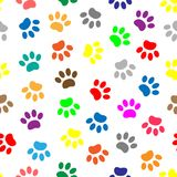 Seamless pattern with colored paws Royalty Free Stock Photo
