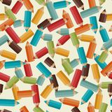 Seamless pattern with colored pencils in retro Stock Photo