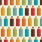 Seamless pattern with colored pencils in retro Stock Image