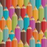 Seamless pattern with colored pencils in retro Stock Photography
