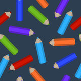 Seamless pattern of colored pencils scattered. Vector seamless pattern of colored pencils scattered Stock Photos