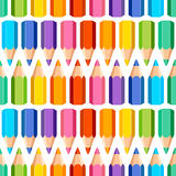 Seamless pattern of colored pencils. On white background vector illustration
