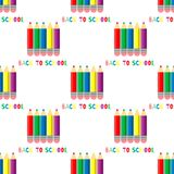 Seamless pattern of colored pencils on white background. Back to school inscription. stock illustration