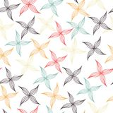 Seamless pattern of colored petals. On white background Stock Photo