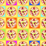 Seamless pattern with colored pizzas on tables. Stock Photo