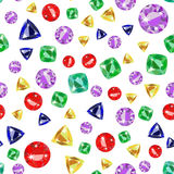 Seamless pattern with colored precious gems vector illustration