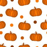 Seamless pattern with colored pumpkins on white background, simple picture with pumpkins to holiday halloween, abstract wallpaper. With vegetables.Vector vector illustration