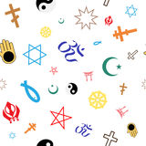 Seamless pattern of colored religious symbols Royalty Free Stock Images
