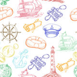 Seamless pattern with colored Sea Adventure elements in sketch style Stock Images