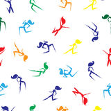 Seamless pattern with colored silhouettes walking, running and jumping women. Hand drawn vector illustration. Royalty Free Stock Photography
