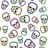 Seamless pattern of colored skulls Royalty Free Stock Photography