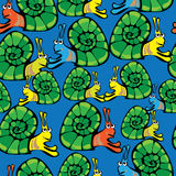 Seamless pattern colored snail Stock Images