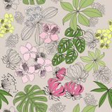 Seamless pattern colored tropical plants on grey background.  illustration Stock Photos