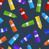 Seamless pattern of colored tubes of paint flat. Vector seamless pattern of colored tubes of paint flat Royalty Free Stock Image
