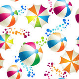 Seamless pattern with colored umbrellas. And balls over white background Stock Photo