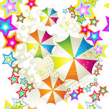 Seamless pattern with colored umbrellas Stock Photos