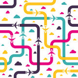 Seamless pattern with colorful airplanes stock illustration