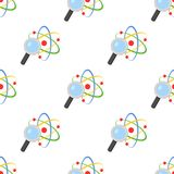 Magnifying Glass Atom Seamless Pattern. A seamless pattern with a colorful atom and magnifying glass, isolated on white background. Useful also as design element Royalty Free Stock Image