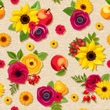 Seamless pattern with colorful autumn flowers on a sacking background. Vector eps-10. Royalty Free Stock Photos