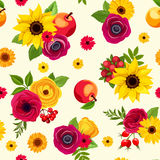 Seamless pattern with colorful autumn flowers. Vector illustration. Stock Image