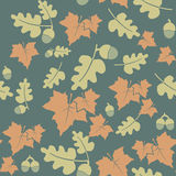 Seamless pattern with colorful autumn leaves and acorns. Stock Photography